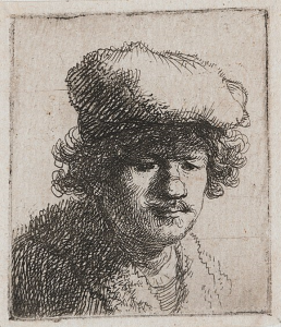 Self-portrait with Cap Pulled Forward, etching by Rembrandt (c1631) (Public Domain)